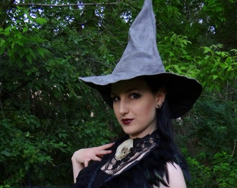 The Gray Wizard or Witch ~ Gray Suede Witch or Wizard Hat