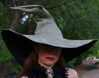 The Sage Witch or Wizard ~ Extra Large Sage Suede Witch or Wizard Hat