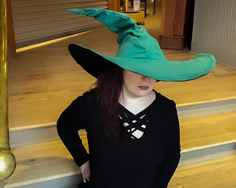 The XL Green Witch or Wizard Ruche Hat