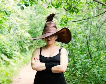 Extra large Brown Leather Witch or Wizard Hat