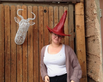 Red Leather Witch or Wizard Hat~Textured Red Leather Hat
