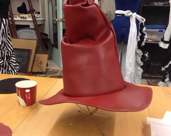 Discounted!!!-Red Leather Witch or Wizard Hat-Tall Crown
