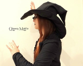 Extra Large Black Suede Witch or Wizard Hat