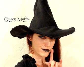 Rustic Black Suede Witch or Wizard Hat-  American Horror Story Inspired
