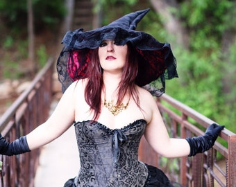 Black and Red Suede Extra Large Witch With Lace