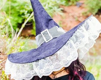 Black Suede And Stripes Extra Large Witch With Lace