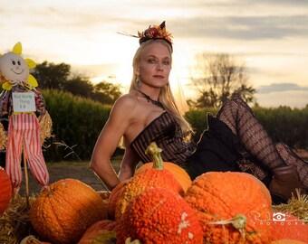 Autumnal pumpkin witch mini hat