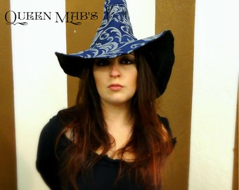 Blue and Silver Tapestry Witch or Wizard Hat