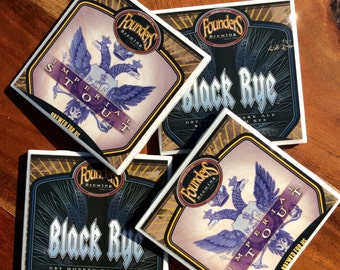 Founders Black Rye and Imperial Stout Beer Coasters