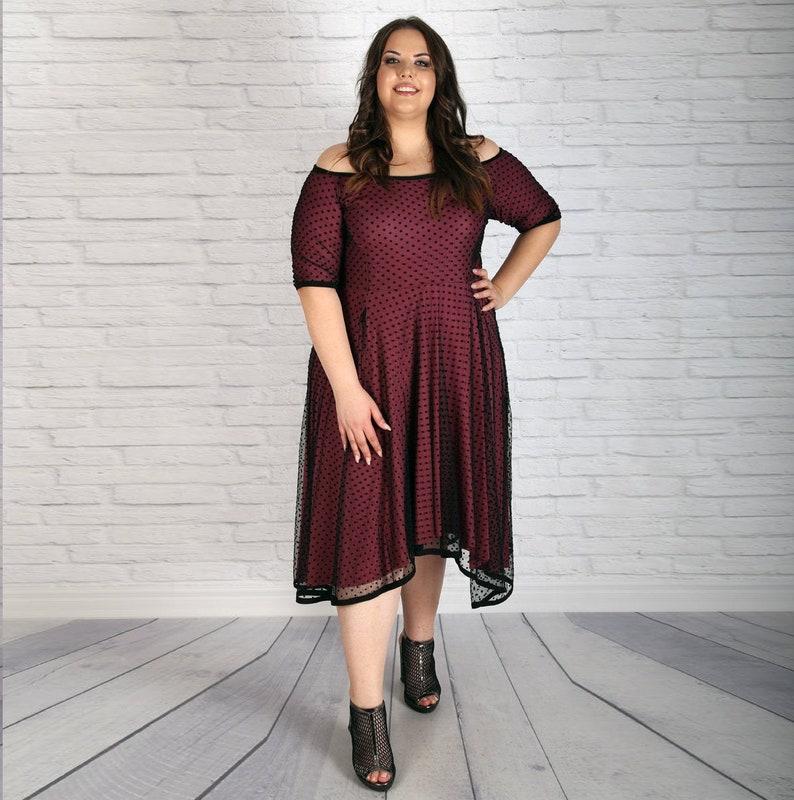 Plus Size Dress, Off Shoulder Dress, Summer Dress, Formal Dress, Flare  Dress, Elegant Dress, Polka Dot Dress, Sheer Dress, Extravagant Dress