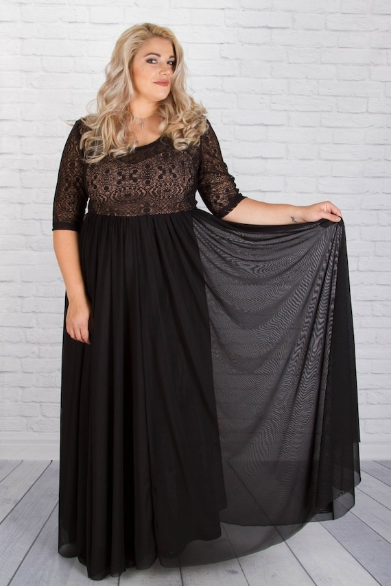Women Dress, Black Dress, Plus Size Dress, Formal Dress, Maxi Dress, Black  Wedding Dress, Gothic Wedding Dress, Plus Size Prom Gown, Lace