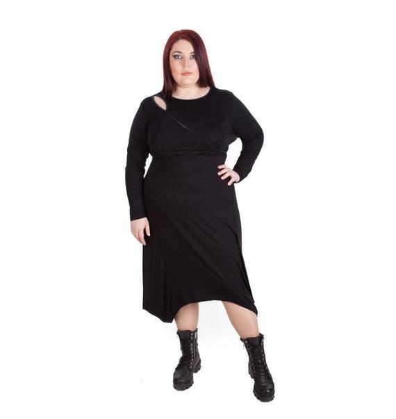 Black Dress Plus Size Dress Long Sleeve Dress Knee Length Etsy