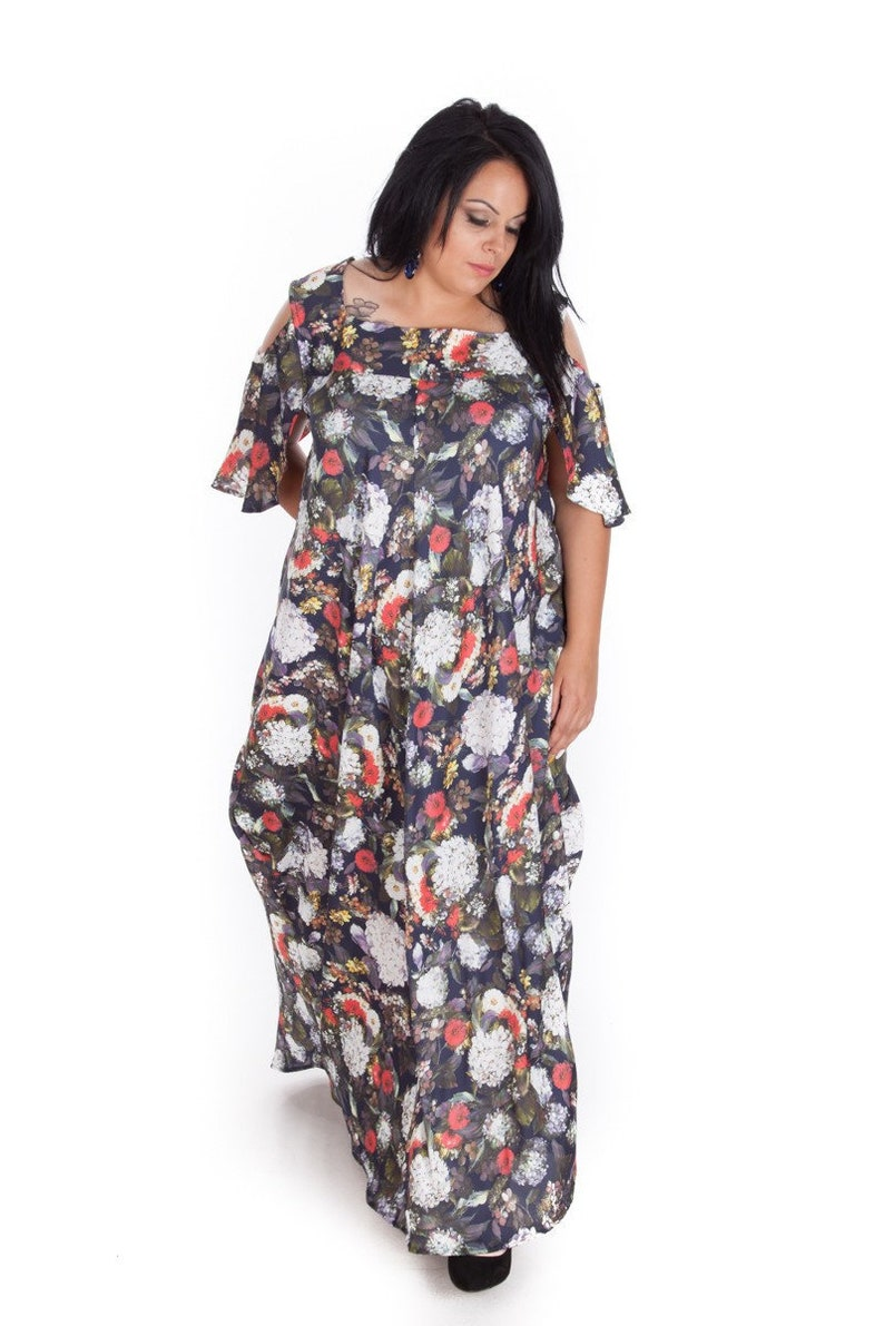 3770aedce134c Long Floral Dress Plus Size Dress Maxi Dress Floral | Etsy