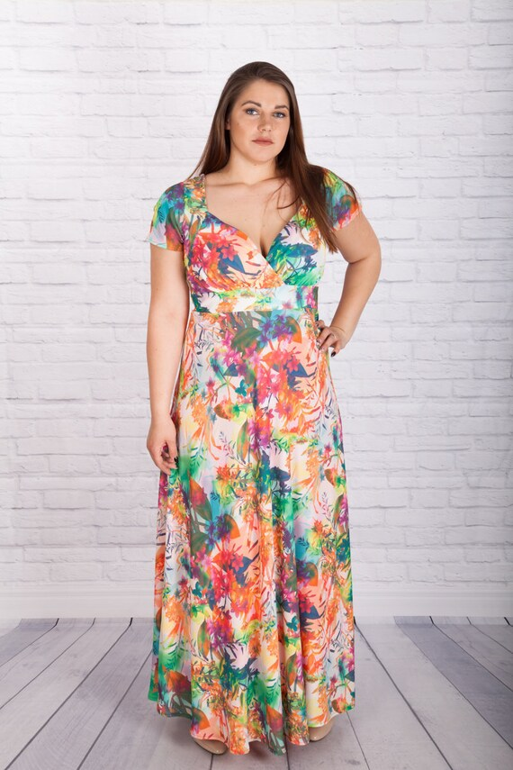Plus Size Summer, Tropical Dress, Floral Wedding Dress, Plus Size Clothing,  Maxi Dress, Oversized Dress, Colorful Dress, Summer Dress