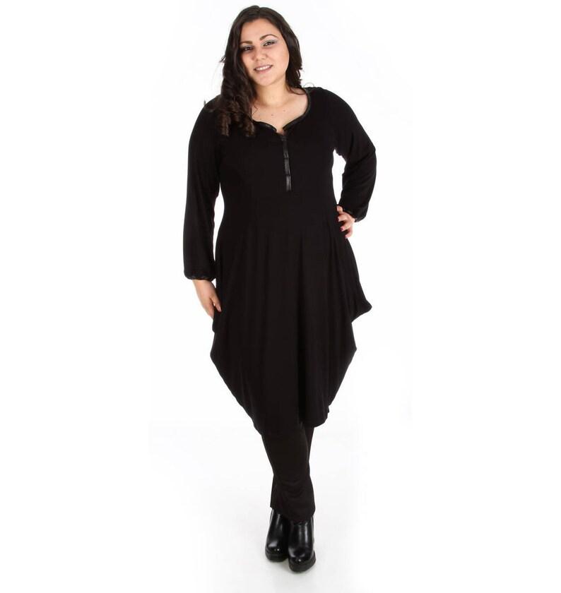 Plus Size Tunic Dress, Long Sleeve Dress, Gothic Dress, Black Asymmetric  Dress, Black Tunic Dress, Oversized Tunic Dress, Plus Size Clothing