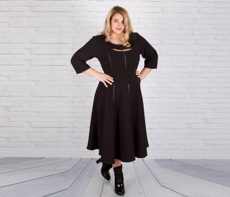 Women Dress, Black Dress, Plus Size Dress, Cocktail Dress, Flare Dress, Party Dress, Midi Dress, Formal Dress, Plus Size Clothing, Oversize