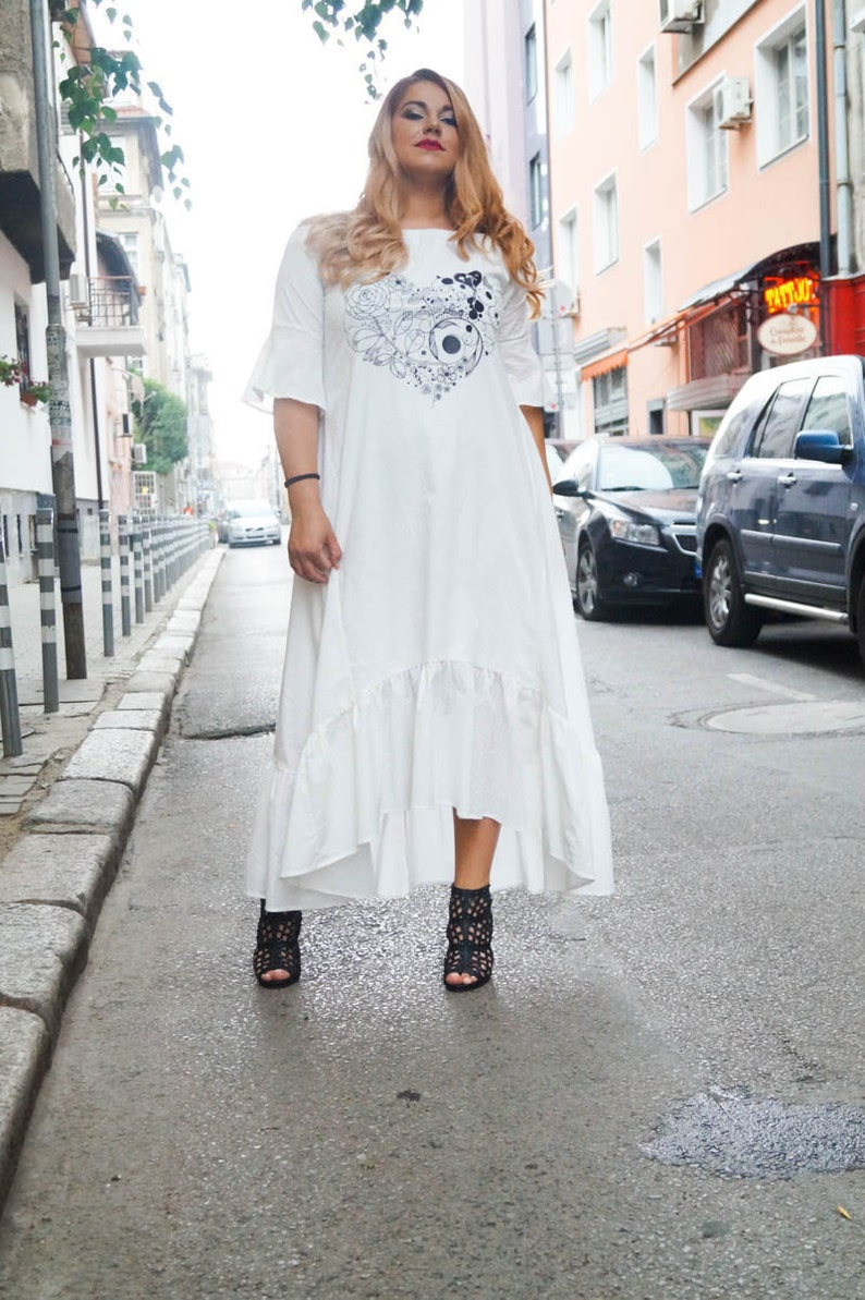 7d326691f999 White Maxi Dress Summer Maxi Dress Beach Dress Plus Size