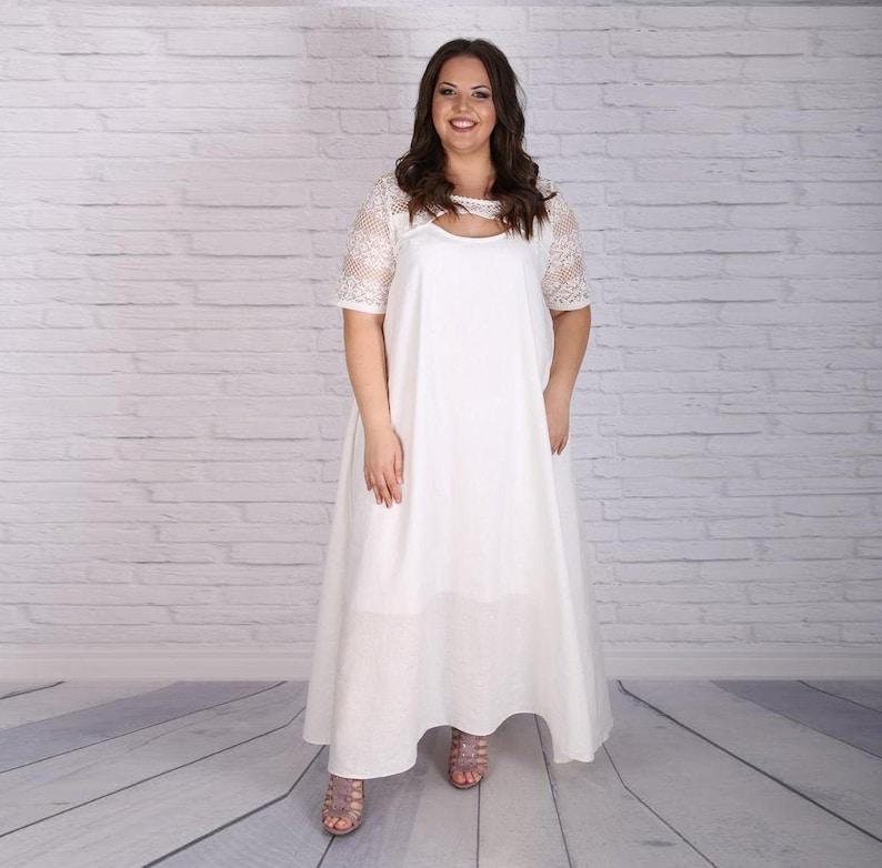 White Linen Dress, Plus Size Dress, Summer Dress, Lace Dress, Maxi Dress,  Flare Dress, Loose Dress, Elegant Dress, Asymmetrical Dress