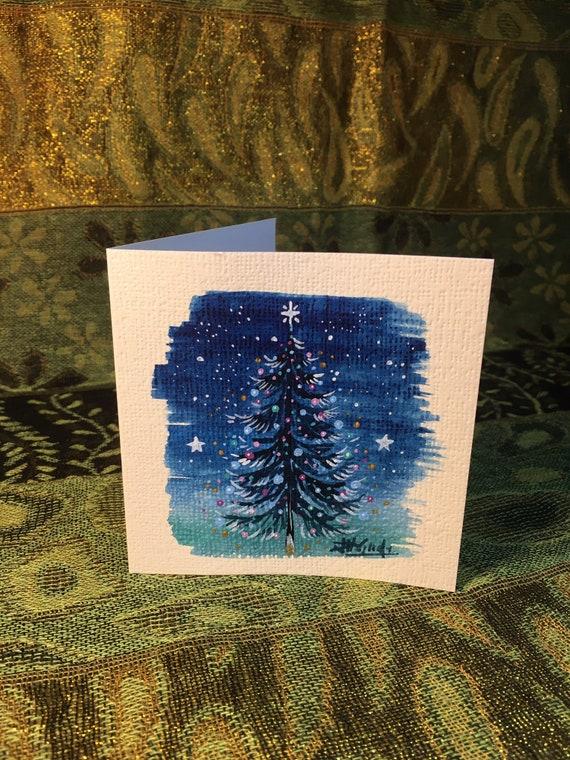 Sparkling Christmas Tree at Night Hemp Card
