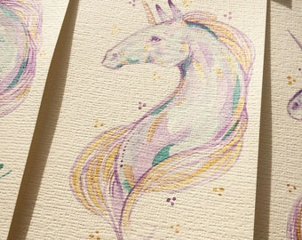 Hand Painted Unicorn Hemp Card