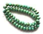 30 small turquoise blue green puffy rondelle beads with a metallic picasso finish, 3mm x 5mm faceted Czech glass rondelles 53101