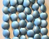 Lot of 8 Czech glass coin beads - 14mm puffy pillow beads - Satin Metallic Arctic Blue - C40101
