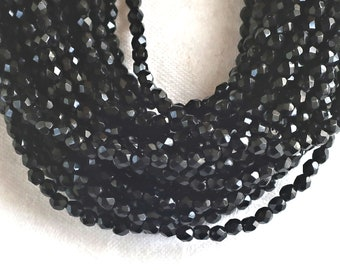 Jet Hematite 70 Beads Bohemian Glass 10 mm Color Anthracite
