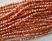 50 3mm Czech Bright Copper Penny metallic glass beads, round faceted firepolished beads, C6650