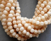 Lot of 100 3mm Off White Luster Champagne melon beads, neutral Czech pressed glass beads C01101
