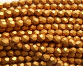 25 6mm Matte Metallic Antique Gold Czech glass beads, firepolished, faceted round beads, C7425