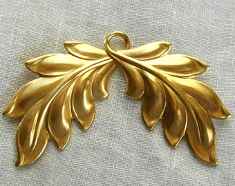 1 large raw brass stamping Art Nouveau, Victorian, leaf, leaves pendant, ornament, connector, charm 52mm x 44mm USA made C4601