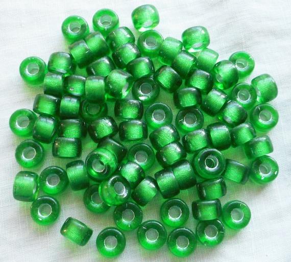 Emerald 100pc Czech Czechoslovakian Glass 9x6mm Crow Pony Beads Free Shipping