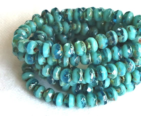 Czech Rondelle Glass Beads ~Opaque Turquoise Silver Picasso~3//5mm