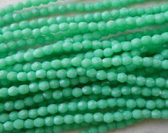 50 3mm Green Turquoise Czech glass beads, Opaque Blue Green firepolished, faceted round beads, C8450