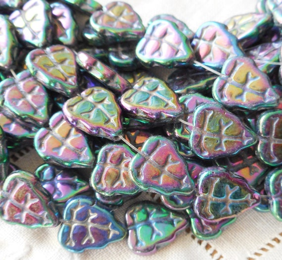 25 Turquoise Luster AB Czech Glass Leaf Beads 10MM