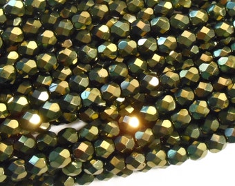 25 6mm Metallic Green Czech glass beads, olive green firepolished, faceted round beads, C6175