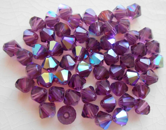 100 3mm Fuchsia Pink AB Faceted Czech Glass Fire Polished Beads Preciosa
