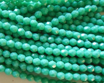 25 6mm Turquoise Green Czech glass beads, opaque blue green firepolished, faceted round beads, C9425
