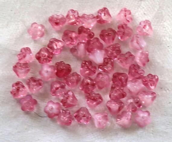 50 Violet AB Bell Flower Czech Glass Beads 6mm x 4mm