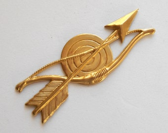 1 Raw Brass stamping Bow and Arrow, Charm, Pendant, Component, Connector, 60 x 21mm, made in the USA C3501