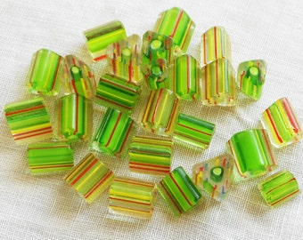 Lot of 20 glass cane beads, striped triangle, triangular bead in green yellow & red 7mm - 9mm x 7mm - 9mm lot#1 C4901