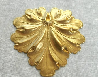 1 large raw brass stamping, Art Nouveau, Victorian leaf pendant, charm, ornament 59mm x 59mm made in the USA C7701