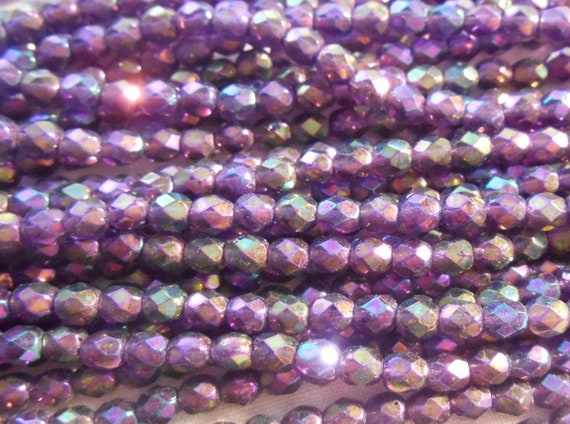 50 Tanzanite Czech Firepolish Faceted Round Glass Beads 4mm