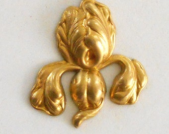1 raw brass floral Iris charm, pendant, brass stamping, 38 x 31mm, made in the USA C9401