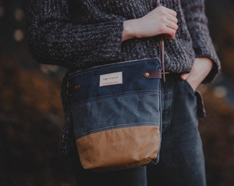 "Waxed Canvas ""FINNOCH""  Cross Body Field Bag - Navy, Grey, Ochre, Canvas bag, Canvas leather bag, Fernweh UK, cross body, adjustable strap"