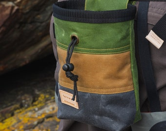 Waxed Canvas Chalk bag, rock climbing chalk bag, chalk pot, rock climbing, climbing chalk bag, bouldering, gifts for climbers