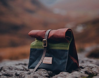 Waxed canvas lunch bag, rust green navy lunch bag, lunch bag, canvas lunch bag, rolltop bag, reuseable lunch bag, waxed canvas