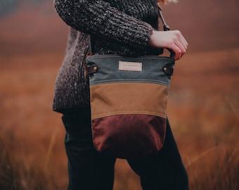 "Waxed Canvas ""FINNOCH""  Cross Body Field Bag - Grey Ochre and Rust, Canvas bag, Canvas leather bag, Fernweh UK, cross body, adjustable strap"