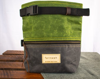 Waxed canvas boulder bucket, chalk bucket, rock climbing chalk bag, chalk pot, bouldering, bouldering bag, grey and green, gifts for climber