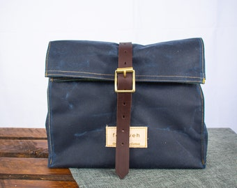 Waxed canvas lunch bag, navy lunch bag, lunch bag, canvas lunch bag, rolltop bag,